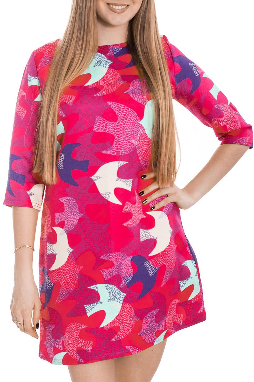 ПлатьеПлатья<br>Яркое платье с рукавами 3/4. Модель выполнена из приятного материала. Отличный выбор для повседневного гардероба.  Цвет: розовый, синий, белый  Рост девушки-фотомодели 170 см.<br><br>Горловина: С- горловина<br>По длине: До колена<br>По материалу: Тканевые<br>По рисунку: С принтом,Цветные<br>По силуэту: Полуприталенные<br>По стилю: Повседневный стиль<br>По форме: Платье - трапеция<br>Рукав: Рукав три четверти<br>По сезону: Осень,Весна,Зима<br>Размер : 42,44,48<br>Материал: Плательная ткань<br>Количество в наличии: 3