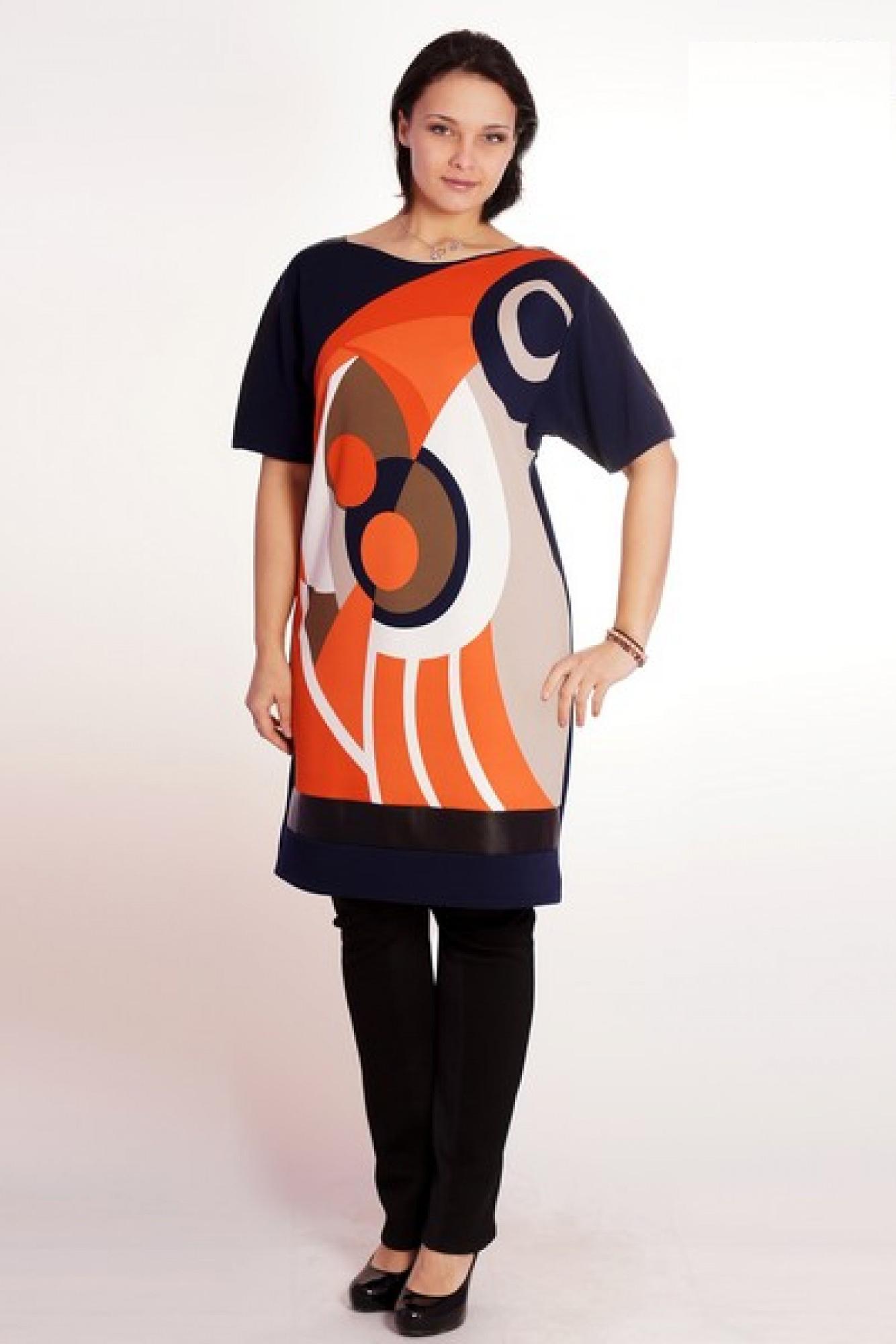 ПлатьеПлатья<br>Эффектное платье прямого силуэта с броским принтом спереди и отделочными элементами из кожзама. Горловина лодочка плавно перетекает в линию рукавов. По низу переда и в рукавах - вставки из черного кожзама. Рукав широкий длиной до локтя; пройма низкая.  Цвет: синий, оранжевый, бежевый.  Длина изделия около 93 см<br><br>Горловина: Лодочка<br>По длине: До колена<br>По материалу: Трикотаж<br>По рисунку: Абстракция,Геометрия,С принтом,Цветные<br>По силуэту: Прямые<br>По стилю: Кэжуал,Повседневный стиль<br>По элементам: С декором,С кожаными вставками<br>Рукав: До локтя<br>По сезону: Осень,Весна,Зима<br>Размер : 50,52,54,56,58<br>Материал: Трикотаж + Искусственная кожа<br>Количество в наличии: 9