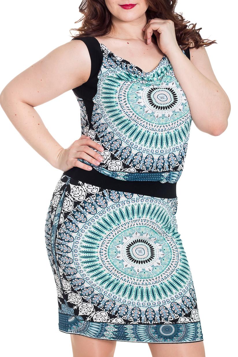 ПлатьеПлатья<br>Красивое платье на широких бретелях с горловиной quot;качельquot;. Модель выполнена из приятного трикотажа. Отличный выбор для повседневного гардероба.  Цвет: голубой, черный, белый  Рост девушки-фотомодели 180 см<br><br>Горловина: Качель<br>По длине: До колена<br>По материалу: Вискоза,Трикотаж<br>По рисунку: С принтом,Цветные,Этнические<br>По силуэту: Полуприталенные<br>По стилю: Повседневный стиль,Летний стиль<br>По форме: Платье - футляр<br>По элементам: С декором<br>Рукав: Без рукавов<br>По сезону: Лето<br>Размер : 46,48,50<br>Материал: Холодное масло<br>Количество в наличии: 4