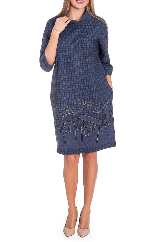 ПлатьеПлатья<br>Красивое женское платье из приятного материала с объемным воротником. Отличный выбор для повседневного гардероба.  В изделии использованы цвета: синий, черный и др.  Рост девушки-фотомодели 170 см<br><br>По длине: До колена<br>По материалу: Трикотаж,Шерсть<br>По рисунку: С принтом,Цветные<br>По сезону: Зима,Осень,Весна<br>По силуэту: Полуприталенные<br>По стилю: Повседневный стиль<br>По элементам: С карманами<br>Рукав: Рукав три четверти<br>Размер : 44,46,50,54,56<br>Материал: Трикотаж<br>Количество в наличии: 8
