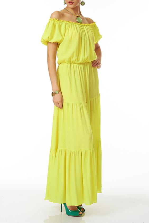 ПлатьеПлатья<br>Длинное платье из жатого хлопка ярко-желтого цвета с многочисленными оборками на юбке. Верх горловины, низ рукава и пояс на талии собран на резинку.  Цвет: желтый  Ростовка изделия 170 см<br><br>По длине: Макси<br>По материалу: Хлопок<br>По рисунку: Однотонные<br>По силуэту: Свободные<br>По стилю: Греческий стиль,Летний стиль,Повседневный стиль<br>По форме: Платье - трапеция<br>По элементам: С открытыми плечами<br>Рукав: Короткий рукав<br>По сезону: Лето<br>Горловина: Лодочка<br>Размер : 50<br>Материал: Хлопок<br>Количество в наличии: 1