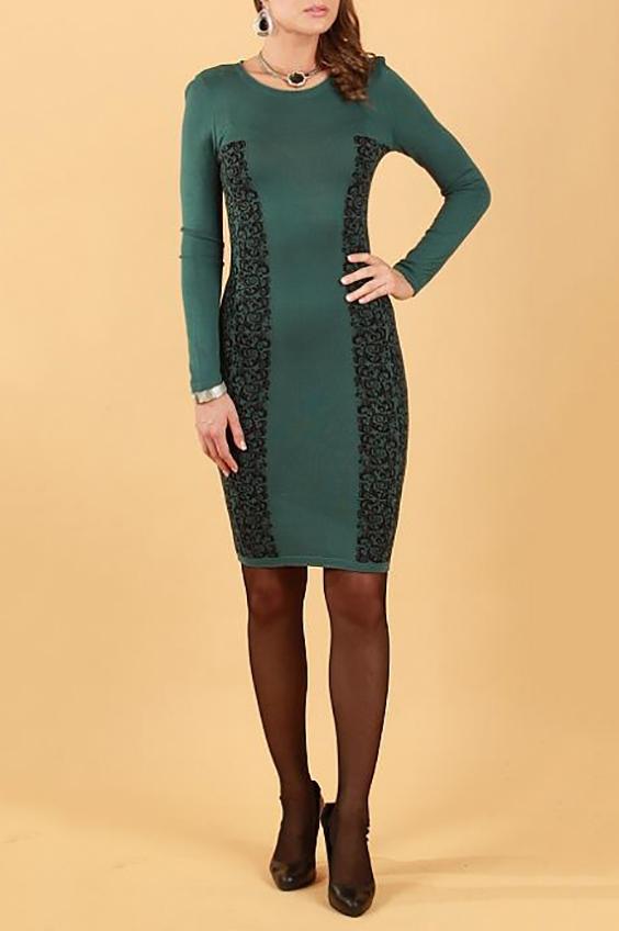 ПлатьеПлатья<br>Вязаное платье-футляр с декоративным узором по бокам. Благодаря вертикальному принту платье визуально вытягивает фигуру.  Цвет: зеленый, черный  Параметры (обхват груди; обхват талии; обхват бедер): 44 размер - 88; 66,4; 96 см 46 размер - 92; 70,6; 100 см 48 размер - 96; 74,2; 104 см 50 размер - 100; 90; 106 см 52 размер - 104; 94; 110 см 54-56 размер - 108-112; 98-102; 114-118 см 58-60 размер - 116-120; 106-110; 124-130 см<br><br>По образу: Город,Свидание<br>По стилю: Повседневный стиль<br>По материалу: Трикотаж<br>По рисунку: Цветные,С принтом<br>По сезону: Зима<br>По силуэту: Обтягивающие<br>По форме: Платье - футляр<br>По длине: До колена<br>Рукав: Длинный рукав<br>Горловина: С- горловина<br>Размер: 46,48,50,52,54<br>Материал: 50% полиэстер 25% вискоза 25% хлопок<br>Количество в наличии: 2