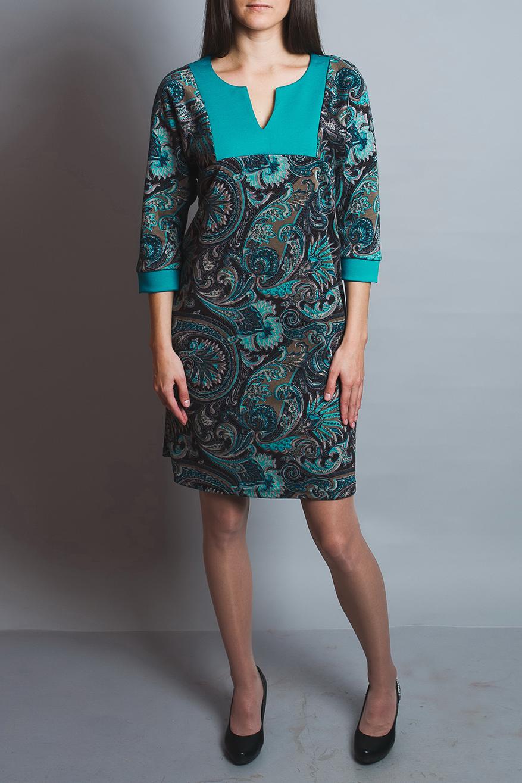 ПлатьеПлатья<br>Чудесное платье с фигурной горловиной и рукавами 3/4. Модель выполнена из приятного материала. Отличный выбор для повседневного гардероба. Платье без пояса.  В изделии использованы цвета: бирюзовый, бежевый и др.  Ростовка изделия 170 см.<br><br>Горловина: Фигурная горловина<br>По длине: До колена<br>По материалу: Вискоза,Трикотаж<br>По рисунку: С принтом,Цветные,Этнические<br>По сезону: Зима,Осень,Весна<br>По силуэту: Полуприталенные<br>По стилю: Повседневный стиль<br>По форме: Платье - футляр<br>Рукав: Рукав три четверти<br>Размер : 46<br>Материал: Трикотаж<br>Количество в наличии: 1