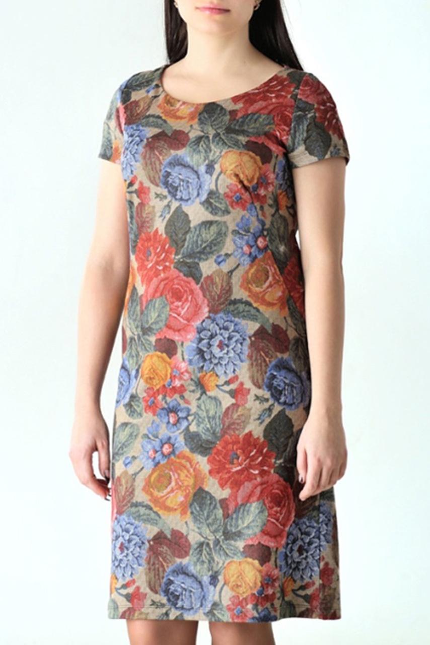 ПлатьеПлатья<br>Женское платье с круглой горловиной и короткими рукавами. Модель выполнена из приятного трикотажа. Отличный выбор для повседневного гардероба.  Цвет: бежевый, коричневый, красный, зеленый<br><br>Горловина: С- горловина<br>По материалу: Вискоза,Трикотаж<br>По рисунку: Растительные мотивы,Цветные,Цветочные,С принтом<br>По сезону: Весна,Осень<br>По силуэту: Полуприталенные<br>Рукав: Короткий рукав<br>По форме: Платье - футляр<br>По стилю: Повседневный стиль<br>По длине: До колена<br>Размер : 46<br>Материал: Джерси<br>Количество в наличии: 1