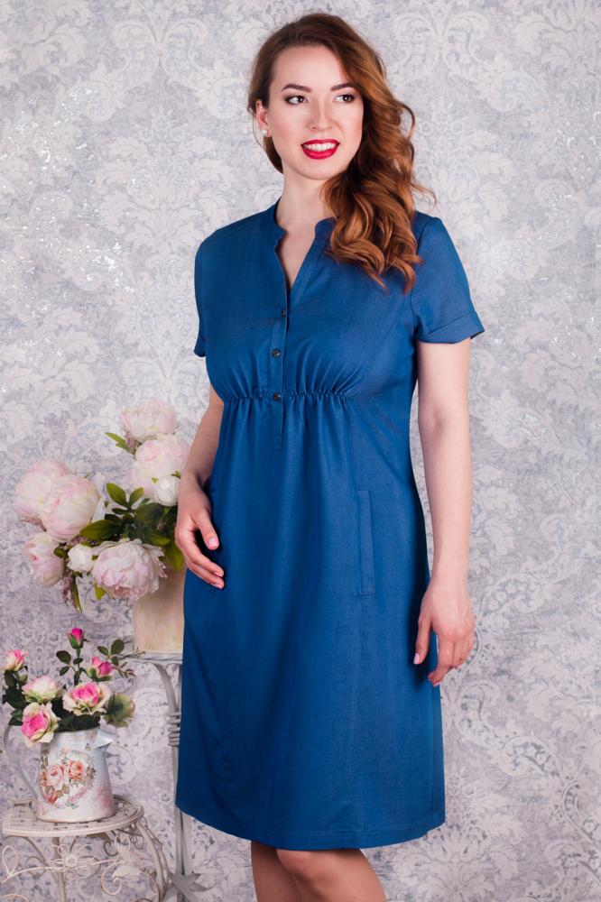 ПлатьеПлатья<br>Стильное джинсовое платье, силуэт расширенный к низу. Под грудью сборка, горловина обработа планкой переходящей в застёжку на пуговицах. В рельефах удобные карманы. Рукав втачной с манжетом.   Цвет: синий  Рост девушки-фотомодели - 168 см<br><br>Воротник: Стойка<br>Горловина: V- горловина<br>По длине: До колена<br>По материалу: Джинс,Хлопок<br>По рисунку: Однотонные<br>По сезону: Весна,Осень<br>По силуэту: Полуприталенные<br>По стилю: Повседневный стиль<br>Рукав: Короткий рукав<br>Размер : 42,44<br>Материал: Хлопок<br>Количество в наличии: 4