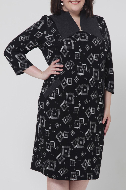 ПлатьеПлатья<br>Гармоничное женское платье с рукавами 3/4. Цвет: черный, серый.<br><br>По длине: Ниже колена<br>По материалу: Шерсть,Трикотаж<br>По рисунку: С принтом,Цветные,Геометрия<br>По сезону: Зима<br>По силуэту: Прямые<br>По стилю: Повседневный стиль<br>По форме: Платье - футляр<br>По элементам: С декором,С карманами<br>Рукав: Рукав три четверти<br>Горловина: V- горловина<br>Размер : 52,54<br>Материал: Трикотаж<br>Количество в наличии: 10