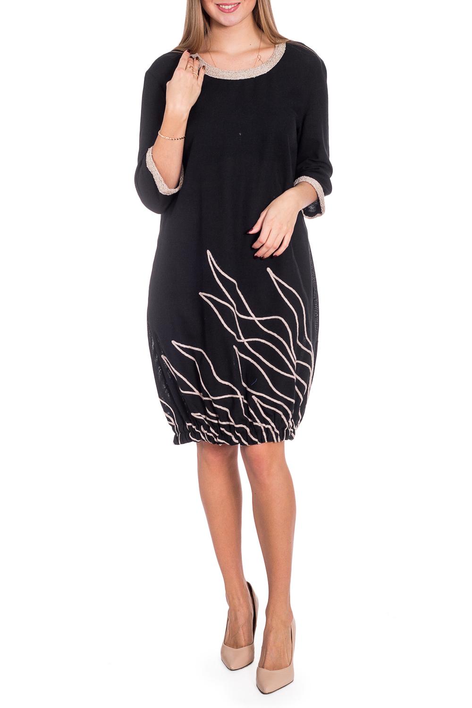 ПлатьеПлатья<br>Красивое женское платье из хлопкового материала с декоративным принтом по низу изделия. Отличный выбор для повседневного гардероба.  В изделии использованы цвета: черный, бежевый  Рост девушки-фотомодели 170 см<br><br>Горловина: С- горловина<br>По длине: До колена<br>По материалу: Хлопок<br>По рисунку: С принтом,Цветные<br>По сезону: Зима,Осень,Весна<br>По силуэту: Полуприталенные<br>По стилю: Повседневный стиль<br>По форме: Платье - баллон<br>По элементам: С декором<br>Рукав: Рукав три четверти<br>Размер : 44,46,48<br>Материал: Хлопок<br>Количество в наличии: 3