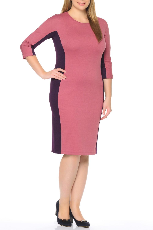 ПлатьеПлатья<br>Повседневное и в то же время элегантное платье, построенное на сочетании двух контрастных цветов и симметричном рисунке. Классический вариант для офиса. Вырез горловины круглый. Рукав 3/4. Ткань - плотный трикотаж, характеризующийся эластичностью, растяжимостью и мягкостью.   Плотность ткани 280 гр/м2  Длина изделия 100-105 см.  В изделии использованы цвета: розовый, фиолетовый  Рост девушки-фотомодели 170 см<br><br>Горловина: С- горловина<br>По длине: Ниже колена<br>По материалу: Вискоза,Трикотаж<br>По рисунку: Цветные<br>По силуэту: Приталенные<br>По стилю: Повседневный стиль<br>По форме: Платье - футляр<br>Рукав: Рукав три четверти<br>По сезону: Осень,Весна,Зима<br>Размер : 50,52,54,56,58<br>Материал: Трикотаж<br>Количество в наличии: 5