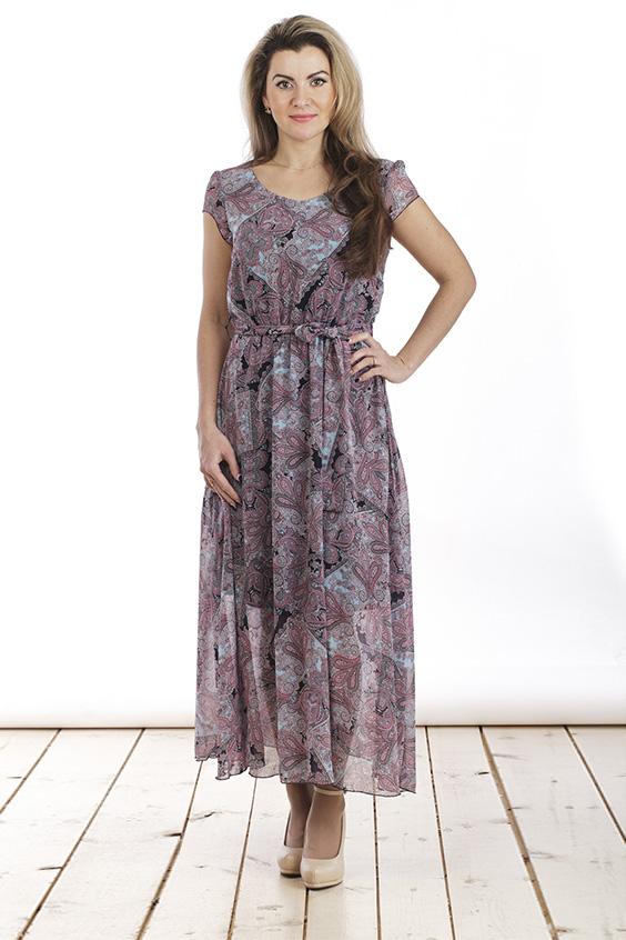 ПлатьеПлатья<br>Нарядное платье с круглой горловиной и короткими рукавами. Модель выполнена из воздушного шифона. Отличный выбор для любого торжества. Платье дополнено поясом из основной ткани.  Цвет: розовый, серый, голубой  Длина изделия 125 см  Длина рукава 9 см   Рост девушки-фотомодели 163 см<br><br>По образу: Город,Свидание,Выход в свет<br>По стилю: Нарядный стиль,Повседневный стиль<br>По материалу: Вискоза,Шифон<br>По рисунку: Абстракция,Цветные<br>По сезону: Всесезон,Зима,Лето,Осень,Весна<br>По силуэту: Полуприталенные<br>По элементам: С поясом<br>По форме: Платье - трапеция<br>По длине: Макси<br>Рукав: Короткий рукав<br>Горловина: С- горловина<br>Размер: 44,46,48,50,52,54<br>Материал: 50% вискоза 50% полиэстер<br>Количество в наличии: 3
