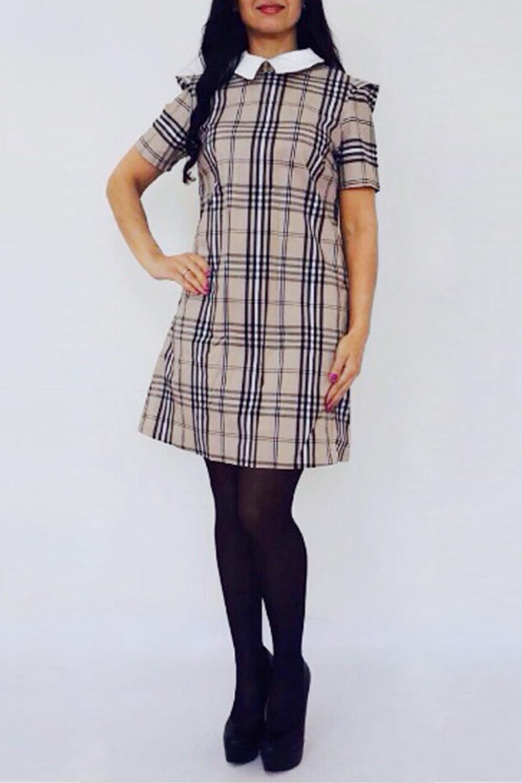 ПлатьеПлатья<br>Классика и элегантность - это залог успеха для создания Вашего повседневного образа. Дополните это стильное платье модными аксессуарами и завершите образ успешной женщины Короткие рукава, рубашечный воротник.  Цвет: бежевый и др.  Рост девушки-фотомодели 170 см<br><br>Воротник: Стояче-отложной<br>Горловина: С- горловина<br>По длине: До колена<br>По материалу: Тканевые<br>По рисунку: Цветные,С принтом,В клетку<br>По сезону: Весна,Зима,Лето,Осень,Всесезон<br>По силуэту: Полуприталенные<br>По стилю: Офисный стиль,Повседневный стиль,Ультрамодный стиль<br>По форме: Платье - трапеция<br>По элементам: С воротником,С декором<br>Рукав: Короткий рукав<br>Размер : 44,46,48,50<br>Материал: Плательная ткань<br>Количество в наличии: 5