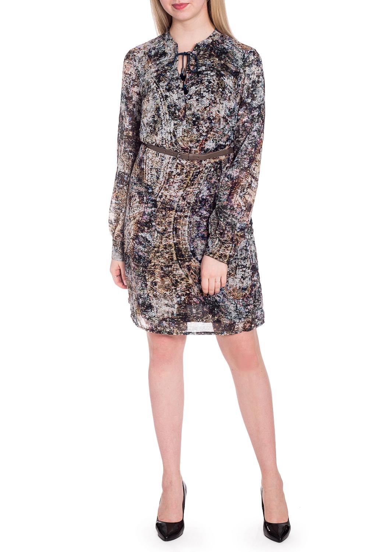ПлатьеПлатья<br>Нарядное платье с длинными рукавами. Модель выполнена из воздушного шифона. Отличный выбор для любого случая. Платье с трикотажным подкладом из 100% полиэстера. Платье без пояса.  В изделии использованы цвета: черный, бежевый и др.  Рост девушки-фотомодели 170 см.<br><br>Горловина: Фигурная горловина<br>По длине: До колена<br>По материалу: Шифон<br>По рисунку: С принтом,Цветные<br>По сезону: Весна,Зима,Лето,Осень,Всесезон<br>По силуэту: Полуприталенные<br>По стилю: Нарядный стиль,Повседневный стиль<br>По элементам: С манжетами,С подкладом<br>Рукав: Длинный рукав<br>Размер : 42,44,46<br>Материал: Шифон<br>Количество в наличии: 3