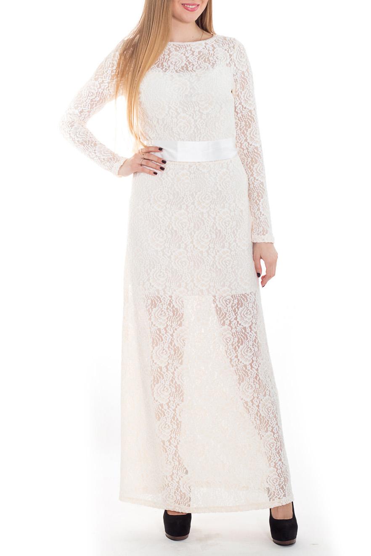 ПлатьеПлатья<br>Это нарядное, эффектное платье прекрасно подойдет как для праздника, так и для романтичной встречи. В наших платьях Вы будете выглядеть очаровательно на протяжении всего вечера. Длинные рукава. Подклад до колена. Пояс в комплект не входит.  Цвет: молочный  Рост девушки-фотомодели 170 см<br><br>Горловина: Лодочка<br>По длине: Макси<br>По материалу: Гипюр<br>По образу: Выход в свет,Свидание<br>По рисунку: Однотонные<br>По сезону: Весна,Зима,Лето,Осень,Всесезон<br>По силуэту: Приталенные<br>По стилю: Нарядный стиль,Романтический стиль,Ультрамодный стиль<br>По элементам: С декором,С подкладом,С фигурным низом<br>Рукав: Длинный рукав<br>Размер : 44,46<br>Материал: Гипюр<br>Количество в наличии: 3