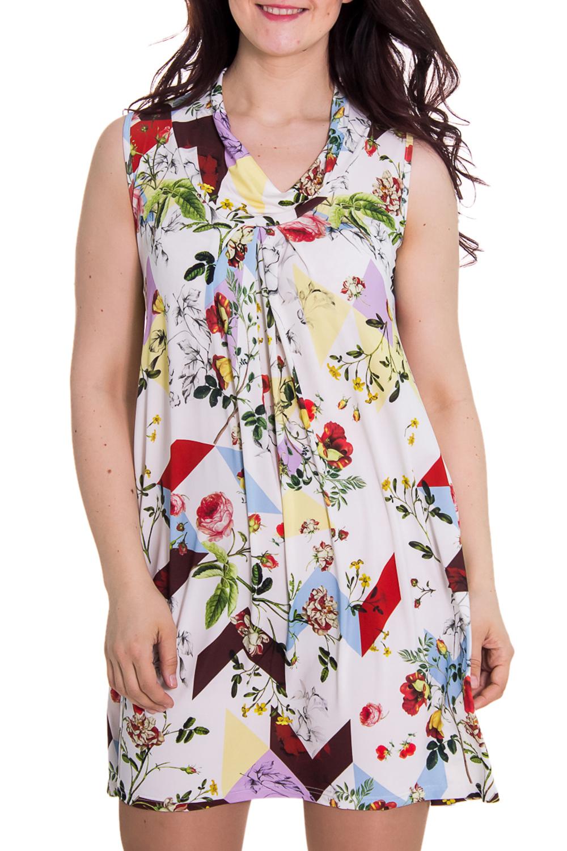 ПлатьеПлатья<br>Женское платье с воротником quot;хомутquot;. Модель полуприталенного силуэта из приятного трикотажа. Отличный вариант для повседневного гардероба.   Цвет: белый, мультицвет  Рост девушки-фотомодели 180 см<br><br>По материалу: Вискоза,Трикотаж<br>По рисунку: Цветные,Растительные мотивы,С принтом,Цветочные<br>По силуэту: Полуприталенные<br>По стилю: Повседневный стиль,Летний стиль<br>Рукав: Без рукавов<br>По сезону: Лето<br>Горловина: Качель<br>По длине: До колена<br>По форме: Платье - трапеция<br>Размер : 46<br>Материал: Холодное масло<br>Количество в наличии: 1