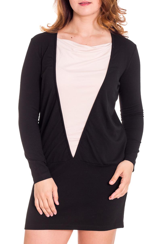 ПлатьеПлатья<br>Эффектное женское платье с контрастной вставкой по переду. Модель выполнена из плотного трикотажа. Отличный выбор для повседневного гардероба.  Цвет: черный, белый  Рост девушки-фотомодели 180 см.<br><br>По образу: Город,Свидание<br>По стилю: Повседневный стиль<br>По материалу: Вискоза,Трикотаж<br>По рисунку: Цветные<br>По сезону: Весна,Осень<br>По силуэту: Полуприталенные<br>По форме: Платье - футляр<br>По длине: До колена<br>Рукав: Длинный рукав<br>Горловина: С- горловина<br>Размер: 52,54<br>Материал: 75% вискоза 20% полиэстер 5% эластан<br>Количество в наличии: 1