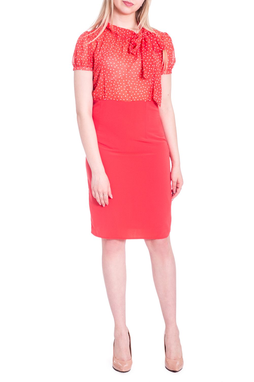 ПлатьеПлатья<br>Нарядное платье с имитацией блузки и юбки. Модель выполнена из воздушного шифона и трикотажа. Отличный выбор для любого случая.  В изделии использованы цвета: красный, белый  Рост девушки-фотомодели 170 см.<br><br>По длине: До колена<br>По материалу: Тканевые,Шифон<br>По рисунку: В горошек,С принтом,Цветные<br>По сезону: Весна,Зима,Лето,Осень,Всесезон<br>По силуэту: Полуприталенные<br>По стилю: Нарядный стиль,Повседневный стиль<br>По форме: Платье - футляр<br>По элементам: С манжетами<br>Рукав: Короткий рукав<br>Размер : 44<br>Материал: Плательная ткань + Шифон<br>Количество в наличии: 1