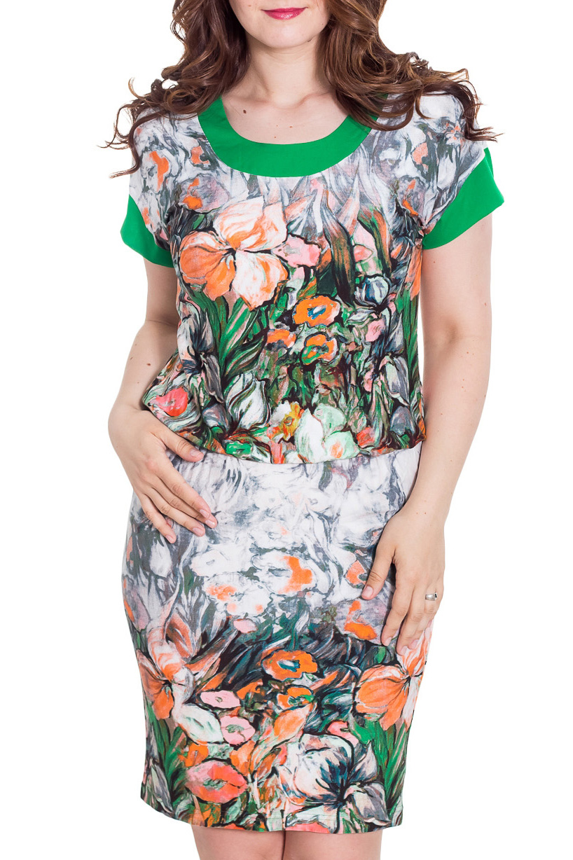 ПлатьеПлатья<br>Цветное платье попуприталенного силуэта с короткими рукавами. Модель выполнена из приятного материала. Отличный выбор на любой случай.  Цвет: белый, зеленый, оранжевый  Рост девушки-фотомодели 180 см<br><br>Горловина: С- горловина<br>По длине: До колена<br>По материалу: Вискоза<br>По рисунку: Растительные мотивы,С принтом,Цветные,Цветочные<br>По силуэту: Полуприталенные<br>По стилю: Повседневный стиль,Летний стиль<br>По форме: Платье - футляр<br>Рукав: Короткий рукав<br>По сезону: Лето<br>Размер : 44,46,48,52,58<br>Материал: Вискоза<br>Количество в наличии: 5