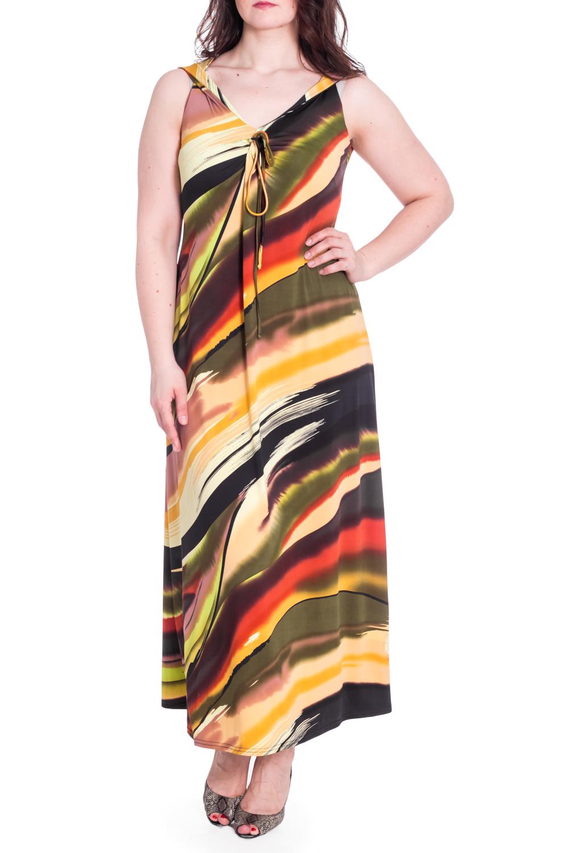 ПлатьеПлатья<br>Цветное платье до щиколотки. Модель выполнена из приятного материала. Отличный выбор для летнего гардероба.  В изделии использованы цвета: коричневый, желтый, зеленый и др.  Ростовка изделия 164-170 см.  Рост девушки-фотомодели 180 см<br><br>Горловина: С- горловина<br>По длине: Макси<br>По материалу: Трикотаж<br>По рисунку: С принтом,Цветные<br>По силуэту: Полуприталенные<br>По стилю: Летний стиль,Повседневный стиль<br>По форме: Платье - трапеция<br>По элементам: С декором<br>Рукав: Без рукавов<br>По сезону: Лето<br>Размер : 48,50,52,54<br>Материал: Холодное масло<br>Количество в наличии: 4