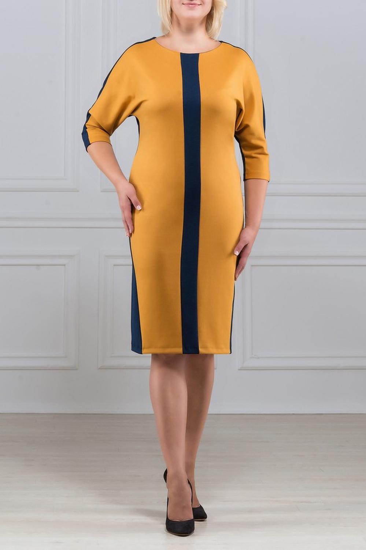 ПлатьеПлатья<br>Платье - летучая мышь со вставками из контрасной ткани и симметричным рисунком. Основным преимуществом платья является то, что оно украсит женщину с абсолютно любой фигурой. Модели платья с широким верхом в области плеч и узким по бедрам низом идут всем. Ткань - плотный трикотаж, характеризующийся эластичностью, растяжимостью и мягкостью.  Длина изделия по спинке 100 см.  В изделии использованы цвета: желтый, синий  Рост девушки-фотомодели 170 см.<br><br>Горловина: С- горловина<br>По длине: Ниже колена<br>По материалу: Вискоза,Трикотаж<br>По рисунку: Цветные<br>По силуэту: Полуприталенные<br>По стилю: Повседневный стиль<br>По форме: Платье - футляр<br>Рукав: Рукав три четверти<br>По сезону: Осень,Весна,Зима<br>Размер : 50,52,54,56,58,60<br>Материал: Трикотаж<br>Количество в наличии: 6