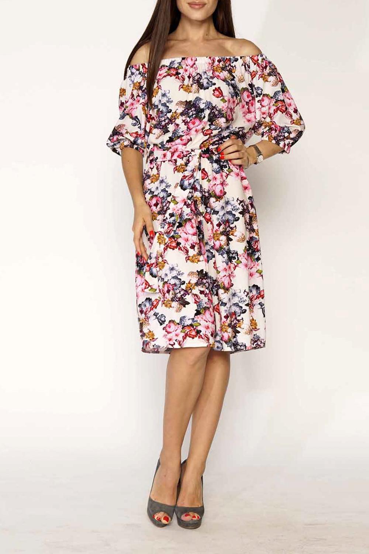 ПлатьеПлатья<br>Цветное платье с элегантной горловиной. Модель выполнена из хлопкового материала. Отличный выбор для любого случая. Платье без пояса.  В изделии использованы цвета: белый, розовый и др.  Ростовка изделия 170 см<br><br>Горловина: Лодочка<br>По длине: Ниже колена<br>По материалу: Хлопок<br>По рисунку: Растительные мотивы,С принтом,Цветные,Цветочные<br>По стилю: Повседневный стиль,Романтический стиль<br>По форме: Платье - трапеция<br>По элементам: С открытыми плечами<br>Рукав: До локтя<br>По сезону: Лето<br>По силуэту: Полуприталенные<br>Размер : 44-46<br>Материал: Хлопок<br>Количество в наличии: 1