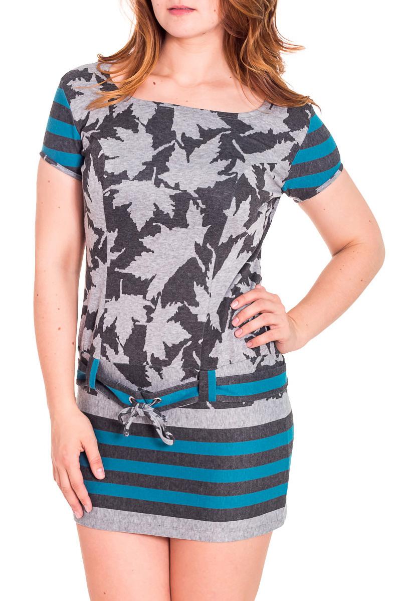 Платье - туникаТуники<br>Короткое платье - туника с закругленной горловиной и короткими рукавами. Модель выполнена из приятного трикотажа. Отличный выбор для повседневного гардероба.  Цвет: серый, бирюзовый.  Рост девушки-фотомодели 180 см.<br><br>По материалу: Вискоза,Трикотаж<br>По рисунку: Цветные,С принтом,В полоску,Растительные мотивы<br>По сезону: Весна,Осень<br>По стилю: Повседневный стиль<br>Рукав: Короткий рукав<br>По силуэту: Приталенные<br>Горловина: Лодочка<br>Размер : 46,50<br>Материал: Вискоза<br>Количество в наличии: 2