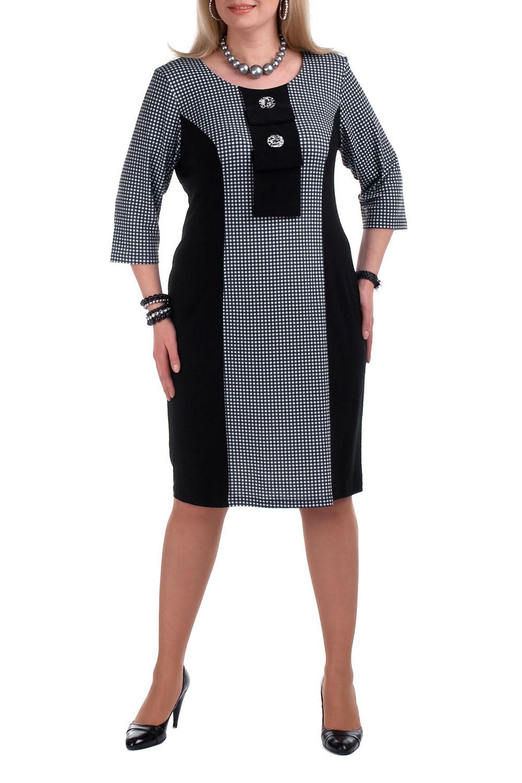 ПлатьеПлатья<br>Повседневное платье с круглой горловиной и рукавами 3/4. Модель выполнена из плотного трикотажа. Отличный выбор для повседневного иделового гардероба.  Цвет: черный, белый  Рост девушки-фотомодели 173 см.<br><br>Горловина: С- горловина<br>По длине: Ниже колена<br>По материалу: Вискоза,Трикотаж<br>По рисунку: Геометрия,С принтом,Цветные,В клетку<br>По сезону: Весна,Осень,Зима<br>По силуэту: Приталенные<br>По стилю: Классический стиль,Офисный стиль,Повседневный стиль<br>По форме: Платье - футляр<br>По элементам: С декором<br>Рукав: Рукав три четверти<br>Размер : 64,68<br>Материал: Трикотаж<br>Количество в наличии: 6