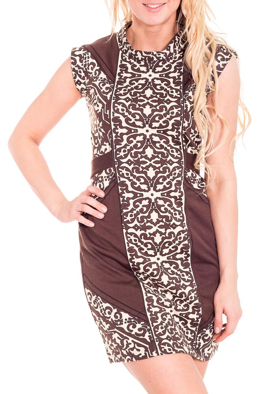 ПлатьеПлатья<br>Чудесное женское платье. Модель выполнена из приятного материала. Отличный выбор для повседневного гардероба.  Цвет: коричневый, бежевый  Рост девушки-фотомодели 170 см.<br><br>Воротник: Хомут<br>По длине: До колена<br>По материалу: Вискоза,Трикотаж<br>По рисунку: Абстракция,Цветные,С принтом,Этнические<br>По сезону: Весна,Осень<br>По силуэту: Полуприталенные<br>По стилю: Повседневный стиль<br>По форме: Платье - футляр<br>Рукав: Без рукавов<br>Размер : 46<br>Материал: Трикотаж<br>Количество в наличии: 3