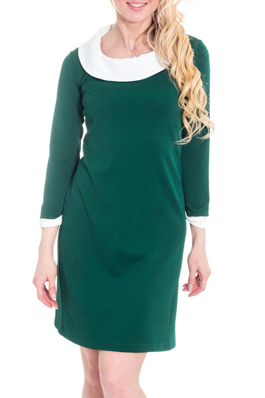 ПлатьеПлатья<br>Прелестное женское платье, которое станет идеальным дополнением к Вашему повседневному гардеробу. Застежка - молния и пуговица.  Цвет: зеленый, белый.  Рост девушки-фотомодели 170 см<br><br>Воротник: Отложной,Стояче-отложной<br>По длине: До колена<br>По материалу: Трикотаж<br>По рисунку: Однотонные<br>По силуэту: Полуприталенные<br>По стилю: Классический стиль,Кэжуал,Офисный стиль,Повседневный стиль<br>По форме: Платье - футляр<br>По элементам: С воротником,С декором,С манжетами,С молнией<br>Рукав: Рукав три четверти<br>По сезону: Осень,Весна,Зима<br>Размер : 44,52<br>Материал: Трикотаж<br>Количество в наличии: 2