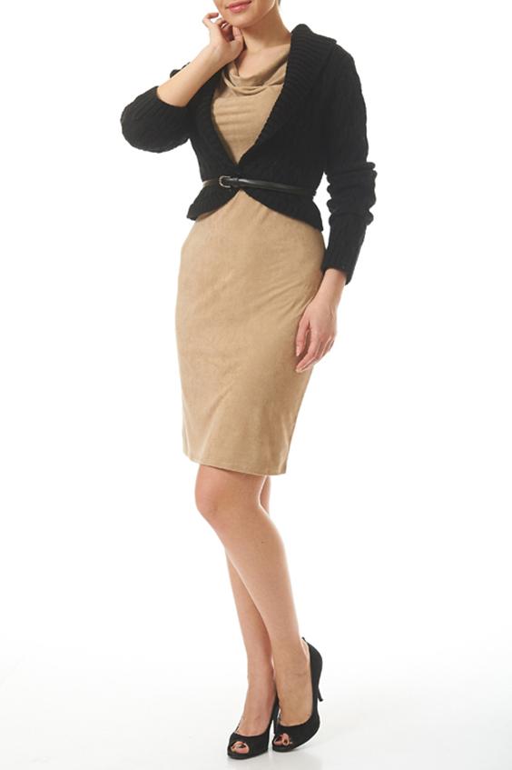КомплектКостюмы<br>Комплект из платья и жакета. Платье облегающего силуэта из ткани с эффектом замши. Жакет вязанный с длинным рукавом и застежкой на пуговицу.  Комплект без пояса.  Цвет жакета: черный Цвет платья: бежевый  Ростовка изделия 170 см<br><br>Рукав: Длинный рукав<br>Горловина: Качель<br>Длина: До колена<br>Материал: Вискоза,Трикотаж<br>Сезон: Весна,Зима,Осень<br>Силуэт: Приталенные<br>Стиль: Повседневный стиль<br>Форма: Костюм двойка,Юбочный костюм<br>Рисунок: Цветные<br>Размер : 44,46<br>Материал: Трикотаж<br>Количество в наличии: 2