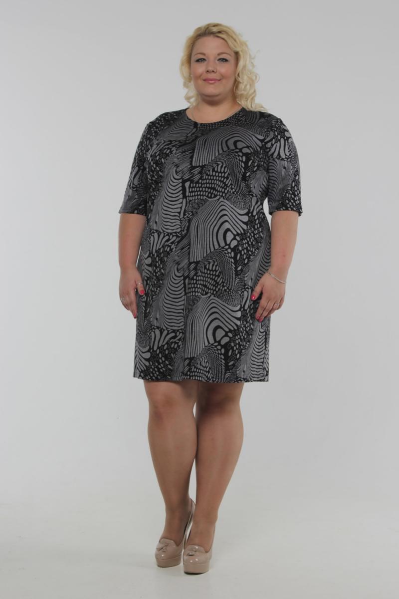ПлатьеПлатья<br>Красивое платье с круглой горловиной и рукавами 3/4. Модель выполнена из приятного трикотажа. Отличный вариант для повседневного гардероба.  Цвет: черный, серый  Рост девушки-фотомодели 180 см<br><br>По образу: Город,Свидание<br>По стилю: Повседневный стиль<br>По материалу: Трикотаж<br>По рисунку: Цветные,Зебра<br>По сезону: Весна,Осень<br>По силуэту: Полуприталенные<br>По длине: До колена<br>Рукав: До локтя<br>Горловина: С- горловина<br>Размер: 54,56,58,60,62,64<br>Материал: 60% полиэстер 30% вискоза 10% лайкра<br>Количество в наличии: 1