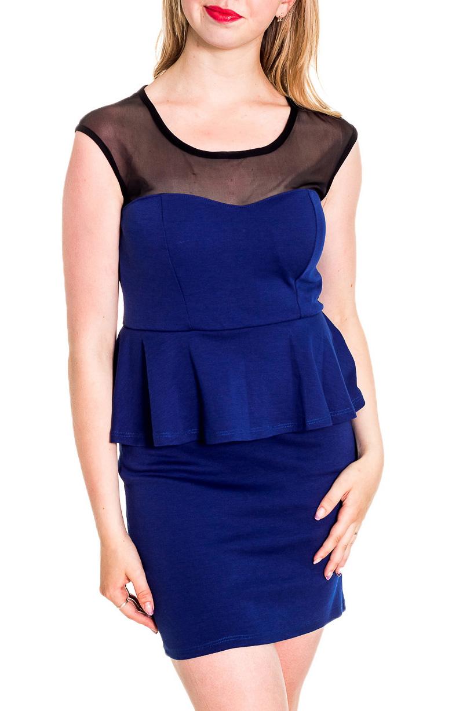 ПлатьеПлатья<br>Нарядное платье с декоративной вставки на плечах из гипюровой сетки. Модель выполнена из приятного материала. Отличный выбор для любого случая.  Цвет: синий, черный  Рост девушки-фотомодели 170 см<br><br>Горловина: С- горловина<br>По длине: До колена<br>По материалу: Вискоза,Гипюровая сетка<br>По образу: Свидание<br>По рисунку: Цветные<br>По сезону: Весна,Зима,Лето,Осень,Всесезон<br>По силуэту: Приталенные<br>По стилю: Нарядный стиль,Повседневный стиль<br>По форме: Платье - футляр<br>По элементам: С баской<br>Рукав: Без рукавов<br>Размер : 44-46<br>Материал: Вискоза + Гипюровая сетка<br>Количество в наличии: 1