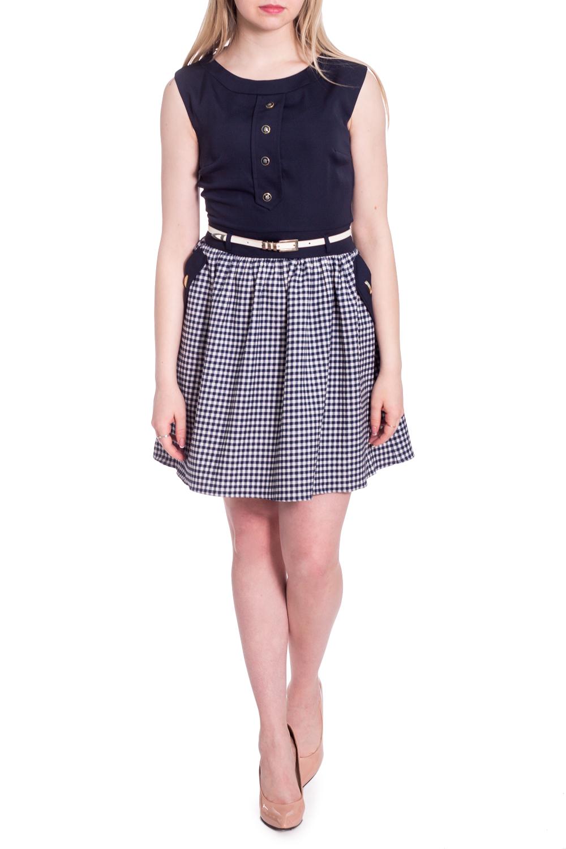 ПлатьеПлатья<br>Летнее платье с имитацией блузки и юбки. Модель выполнена из приятного материала. Отличный выбор для любого случая. Платье без пояса.  В изделии использованы цвета: синий, белый  Рост девушки-фотомодели 170 см.<br><br>Горловина: С- горловина<br>По длине: До колена<br>По материалу: Тканевые<br>По рисунку: С принтом,Цветные<br>По сезону: Весна,Лето<br>По силуэту: Приталенные<br>По стилю: Повседневный стиль<br>По форме: Платье - трапеция<br>По элементам: С декором<br>Рукав: Без рукавов<br>Размер : 42,46,48<br>Материал: Костюмно-плательная ткань<br>Количество в наличии: 3