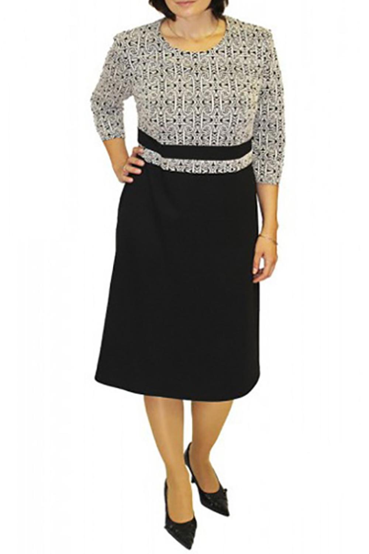 ПлатьеПлатья<br>Прекрасное платье с круглой горловиной и рукавами 3/4. Модель выполнена из приятного материала. Отличный выбор для повседневного гардероба.  Цвет: черный, белый  Рост девушки-фотомодели 164 см<br><br>Горловина: С- горловина<br>По длине: Ниже колена<br>По материалу: Вискоза,Трикотаж<br>По рисунку: Цветные,С принтом<br>По сезону: Весна,Осень,Зима<br>По силуэту: Полуприталенные<br>По стилю: Повседневный стиль<br>Рукав: Рукав три четверти<br>По форме: Платье - трапеция<br>Размер : 48<br>Материал: Трикотаж<br>Количество в наличии: 1