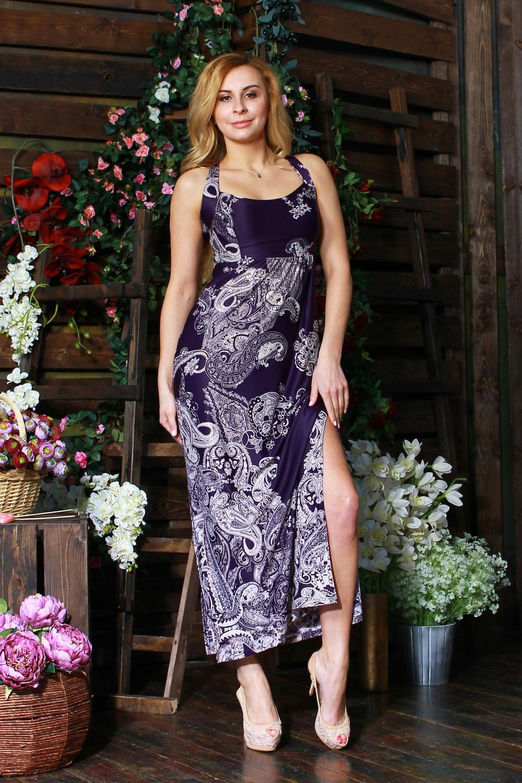 ПлатьеПлатья<br>Удлиненное платье из легкого струящегося трикотажного полотна прилегающего силуэта. Лиф отрезной, двойной, бретели перекрещиваются на спинке, формируя капельку, по боковым швам высокие разрезы.  Цвет: фиолетовый, белый  Рост девушки-фотомодели 175 см<br><br>По длине: Макси<br>По материалу: Вискоза,Трикотаж<br>По рисунку: С принтом,Цветные,Этнические<br>По силуэту: Полуприталенные<br>По стилю: Повседневный стиль,Летний стиль<br>По элементам: С разрезом<br>Разрез: Длинный<br>Рукав: Без рукавов<br>По сезону: Лето<br>Размер : 42,44<br>Материал: Холодное масло<br>Количество в наличии: 2
