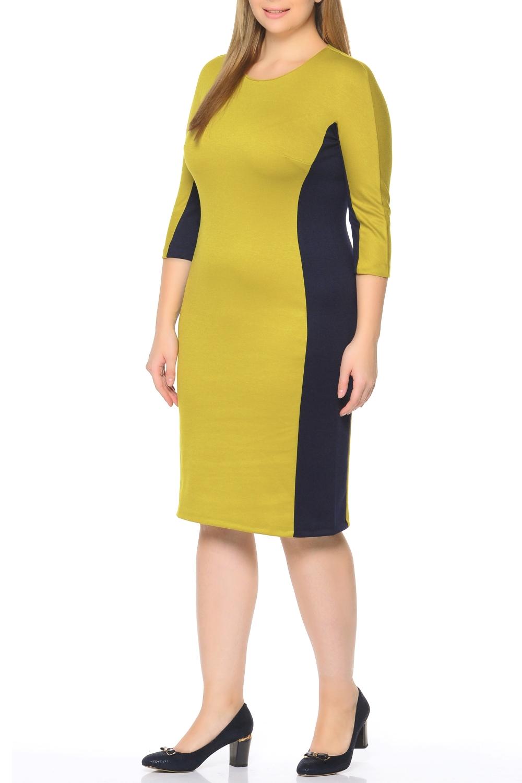 ПлатьеПлатья<br>Повседневное и в то же время элегантное платье, построенное на сочетании двух контрастных цветов и симметричном рисунке. Классический вариант для офиса. Вырез горловины круглый. Рукав 3/4. Ткань - плотный трикотаж, характеризующийся эластичностью, растяжимостью и мягкостью.   Плотность ткани 280 гр/м2  Длина изделия 100-105 см.  В изделии использованы цвета: оливковый, черный  Рост девушки-фотомодели 170 см<br><br>Горловина: С- горловина<br>По длине: Ниже колена<br>По материалу: Вискоза,Трикотаж<br>По рисунку: Цветные<br>По силуэту: Приталенные<br>По стилю: Повседневный стиль<br>По форме: Платье - футляр<br>Рукав: Рукав три четверти<br>По сезону: Осень,Весна,Зима<br>Размер : 50,54,58<br>Материал: Трикотаж<br>Количество в наличии: 3
