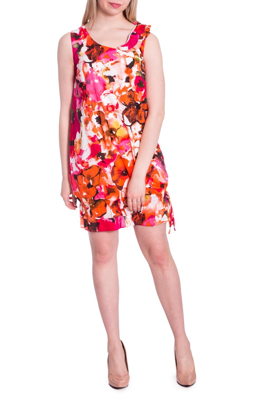 ПлатьеПлатья<br>Летнее платье с ярким цветочным принтом. Модель выполнена из приятного материала. Отличный выбор для любого случая.  В изделии использованы цвета: розовый, оранжевый и др.  Рост девушки-фотомодели 170 см.<br><br>Горловина: С- горловина<br>По длине: До колена<br>По материалу: Хлопок<br>По рисунку: Растительные мотивы,С принтом,Цветные,Цветочные<br>По силуэту: Полуприталенные<br>По стилю: Летний стиль,Повседневный стиль<br>По форме: Платье - трапеция<br>По элементам: С воланами и рюшами<br>Рукав: Без рукавов<br>По сезону: Лето<br>Размер : 42-44,44-46,46-48<br>Материал: Хлопок<br>Количество в наличии: 3