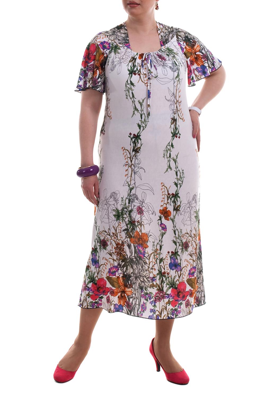 ПлатьеПлатья<br>Яркое женское платье с короткими рукавами. Модель выполнена из приятного трикотажа. Отличный выбор для летнего гардероба.  Цвет: белый, мультицвет  Рост девушки-фотомодели 173 см.<br><br>Горловина: Квадратная горловина<br>По длине: Миди,Ниже колена<br>По материалу: Трикотаж<br>По рисунку: Растительные мотивы,С принтом,Цветные,Цветочные<br>По силуэту: Полуприталенные<br>По стилю: Повседневный стиль,Летний стиль<br>Рукав: Короткий рукав<br>По сезону: Лето<br>Размер : 54<br>Материал: Трикотаж<br>Количество в наличии: 7