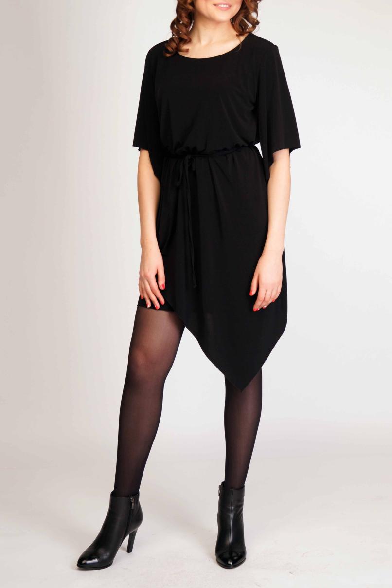 ПлатьеПлатья<br>Ультрамодное платье с асимметричным подолом. Модель выполнена из струящегося трикотажа. Отличный выбор для любого случая. Платье без пояса.  Цвет: черный  Ростовка изделия 170 см<br><br>Горловина: С- горловина<br>По длине: До колена<br>По материалу: Трикотаж<br>По рисунку: Однотонные<br>По силуэту: Полуприталенные<br>По стилю: Молодежный стиль,Повседневный стиль<br>По элементам: С фигурным низом<br>Рукав: До локтя<br>По сезону: Осень,Весна<br>Размер : 44-46,48-50<br>Материал: Холодное масло<br>Количество в наличии: 3