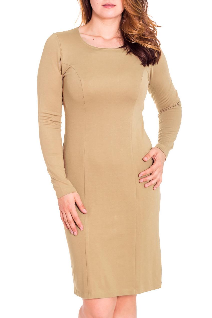 ПлатьеПлатья<br>Лаконичное платье с круглой горловиной и длинными рукавом. Модель выполнена из приятного трикотажа. Отличный выбор для повседневного и делового гардероба.  Цвет: песочный  Рост девушки-фотомодели 180 см<br><br>Горловина: С- горловина<br>По длине: До колена<br>По материалу: Вискоза,Трикотаж<br>По образу: Город,Офис,Свидание<br>По рисунку: Однотонные<br>По сезону: Весна,Осень<br>По силуэту: Полуприталенные<br>По стилю: Офисный стиль,Повседневный стиль<br>По форме: Платье - футляр<br>Рукав: Длинный рукав<br>Размер : 48,50<br>Материал: Трикотаж<br>Количество в наличии: 2