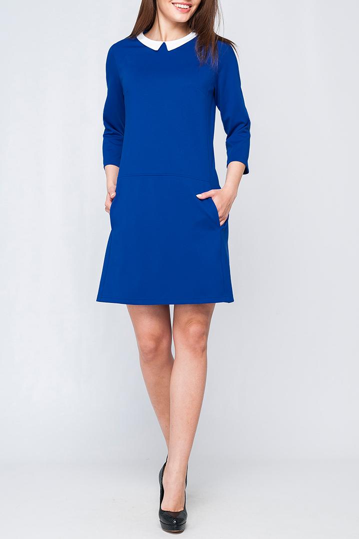 ПлатьеПлатья<br>Модное женское платье с контрастным отложным воротничком, по спинке изделия застежка-пуговица, длина чуть выше колена. Параметры изделия: 44 размер: обхват по линии груди - 97 см, обхват по линии бедер - 105 см, длина по спинке - 89,5 см, длина рукава - 45 см; 52 размер: обхват по линии груди - 113 см, обхват по линии бедер - 117 см, длина по спинке - 97 см, длина рукава - 48 см.В изделии использованы цвета: синий, белыйРост девушки-фотомодели 170 см<br><br>Воротник: Отложной<br>Горловина: С- горловина<br>Рукав: Короткий рукав<br>Длина: До колена<br>Материал: Трикотаж<br>Рисунок: Однотонные<br>Сезон: Весна,Осень<br>Силуэт: Полуприталенные<br>Стиль: Классический стиль,Кэжуал,Офисный стиль,Повседневный стиль<br>Форма: Платье - трапеция<br>Размер : 40,42,44,46,48<br>Материал: Трикотаж<br>Количество в наличии: 5