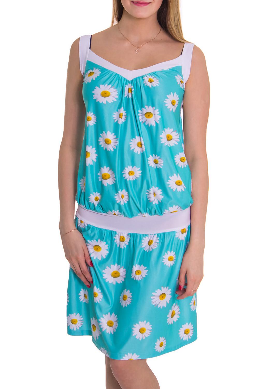 ПлатьеПлатья<br>Женское платье без рукавов. Модель полуприталенного силуэта из приятного трикотажа. Отличный вариант для повседневного гардероба.   Цвет: голубой, белый  Рост девушки-фотомодели 176 см<br><br>По материалу: Вискоза,Трикотаж<br>По рисунку: Растительные мотивы,Цветные,Цветочные,С принтом<br>По силуэту: Полуприталенные<br>По стилю: Повседневный стиль,Летний стиль<br>Рукав: Без рукавов<br>По сезону: Лето<br>Горловина: Фигурная горловина<br>По длине: До колена<br>Размер : 48,50,52<br>Материал: Холодное масло<br>Количество в наличии: 4
