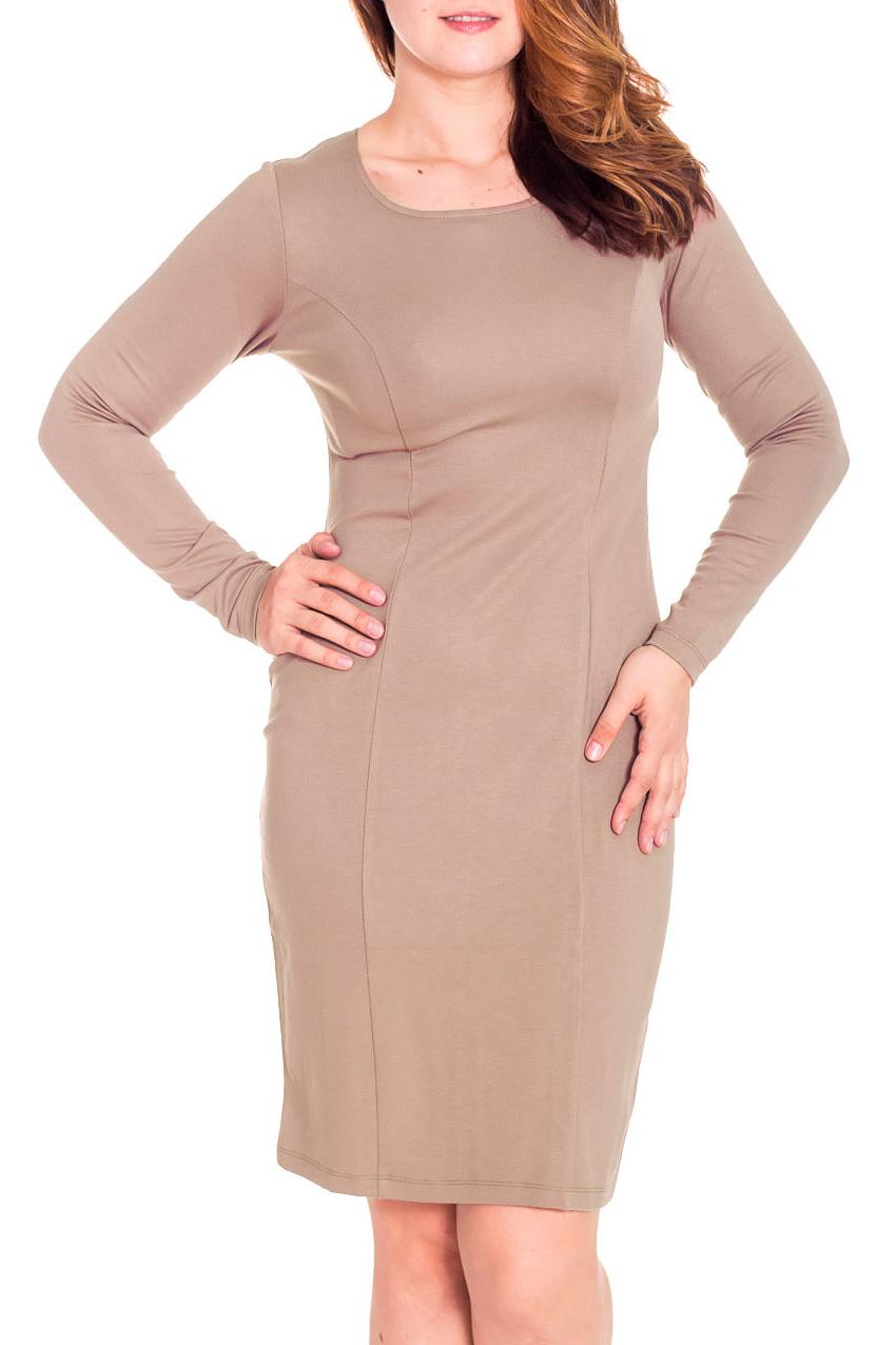 ПлатьеПлатья<br>Лаконичное платье с круглой горловиной и длинными рукавом. Модель выполнена из приятного трикотажа. Отличный выбор для повседневного и делового гардероба.  Цвет: бежевый  Рост девушки-фотомодели 180 см<br><br>Горловина: С- горловина<br>По длине: До колена<br>По материалу: Вискоза,Трикотаж<br>По образу: Город,Офис,Свидание<br>По рисунку: Однотонные<br>По силуэту: Полуприталенные<br>По стилю: Офисный стиль,Повседневный стиль<br>По форме: Платье - футляр<br>Рукав: Длинный рукав<br>По сезону: Осень,Весна<br>Размер : 50<br>Материал: Трикотаж<br>Количество в наличии: 1
