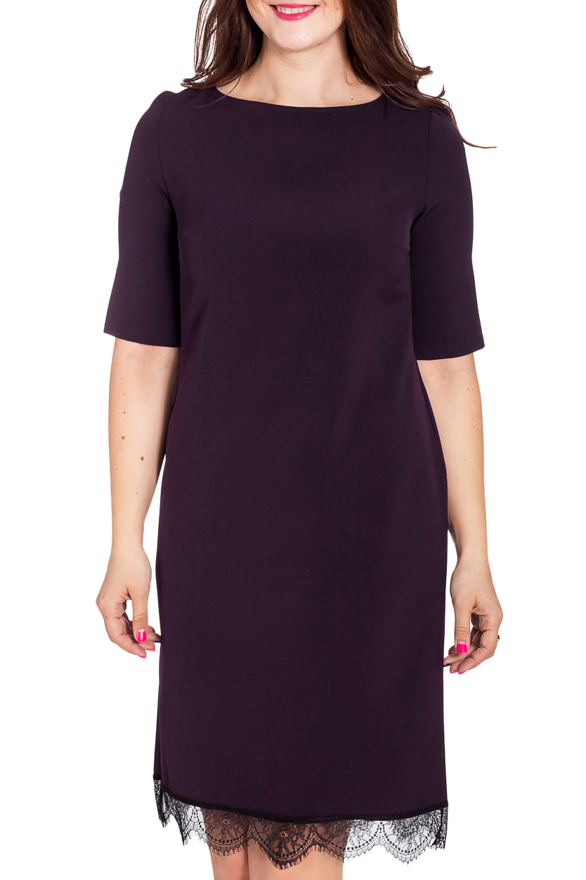 ПлатьеПлатья<br>Элегантное платье с гипюровой отделкой по подолу. Модель выполнена из приятного материала. Отличный выбор для любого случая.  В изделии использованы цвета: темно-фиолетовый, черный  Рост девушки-фотомодели 180 см<br><br>Горловина: С- горловина<br>По длине: До колена<br>По материалу: Гипюр,Тканевые<br>По образу: Город,Свидание<br>По рисунку: Однотонные<br>По сезону: Всесезон,Зима,Лето,Осень,Весна<br>По силуэту: Полуприталенные<br>По стилю: Повседневный стиль<br>По форме: Платье - футляр<br>По элементам: С декором<br>Рукав: До локтя<br>Размер : 44-46,48-50<br>Материал: Плательная ткань + Гипюр<br>Количество в наличии: 2
