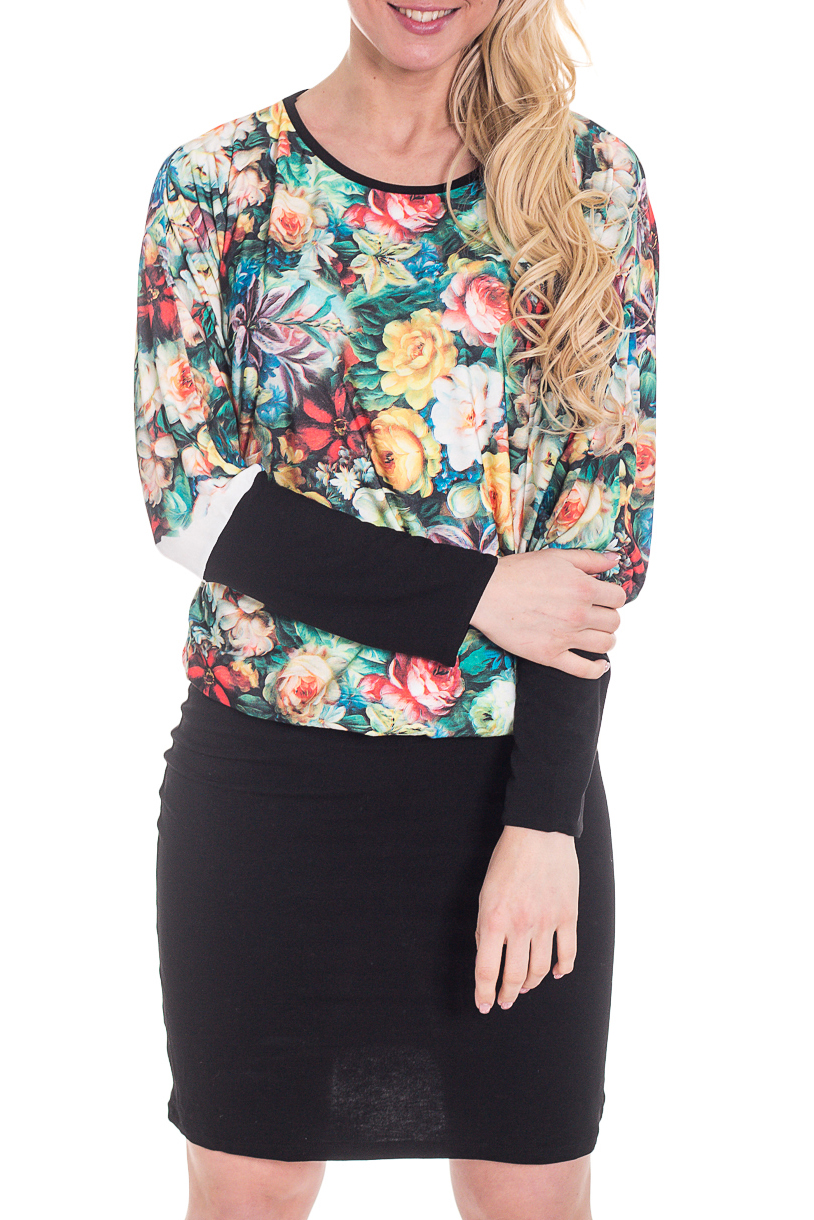 ПлатьеПлатья<br>Цветное платье с небольшим напуском в районе талии. Модель выполнена из приятного трикотажа. Отличный выбор для любого случая.  Цвет: черный, зеленый, желтый, коралловый  Рост девушки-фотомодели 170 см.<br><br>Горловина: С- горловина<br>По длине: До колена<br>По материалу: Вискоза,Трикотаж<br>По образу: Город,Свидание<br>По рисунку: Растительные мотивы,С принтом,Цветные,Цветочные<br>По силуэту: Полуприталенные<br>По стилю: Повседневный стиль<br>По форме: Платье - футляр<br>Рукав: Длинный рукав<br>По сезону: Осень,Весна<br>Размер : 44,46,48,50,52<br>Материал: Холодное масло<br>Количество в наличии: 6