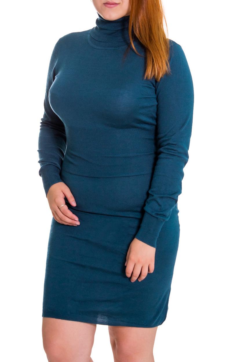 ПлатьеПлатья<br>Женское платье с длинными рукавами. Модель выполнена из вязаного трикотажа. Вязаный трикотаж - это красота, тепло и комфорт. В вязаных вещах очень легко оставаться женственной и в то же время не замёрзнуть.  Цвет: синий  Рост девушки-фотомодели 169 см.<br><br>Воротник: Стойка<br>По длине: До колена<br>По материалу: Вязаные,Трикотаж<br>По образу: Город,Свидание<br>По рисунку: Однотонные<br>По сезону: Зима<br>По силуэту: Обтягивающие<br>По стилю: Повседневный стиль<br>По элементам: С декором<br>Рукав: Длинный рукав<br>Размер : 50<br>Материал: Вязаное полотно<br>Количество в наличии: 1