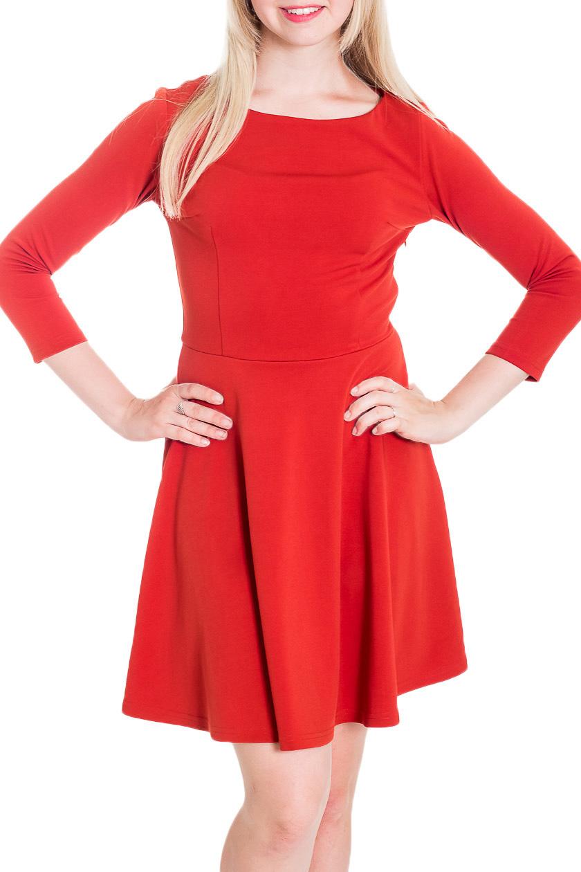 ПлатьеПлатья<br>Утонченное женское платье силуэта трапеция с горловиной лодочка и рукавами 7/8. Побалуйте себя этой великолепной покупкой.  Цвет: красный  Рост девушки-фотомодели 170 см<br><br>Горловина: Лодочка<br>По длине: До колена<br>По материалу: Тканевые<br>По рисунку: Однотонные<br>По силуэту: Приталенные<br>По стилю: Молодежный стиль,Повседневный стиль<br>По форме: Беби - долл,Платье - трапеция<br>Рукав: Рукав три четверти<br>По сезону: Осень,Весна,Зима<br>Размер : 44,46,48,50,52,54<br>Материал: Костюмно-плательная ткань<br>Количество в наличии: 6