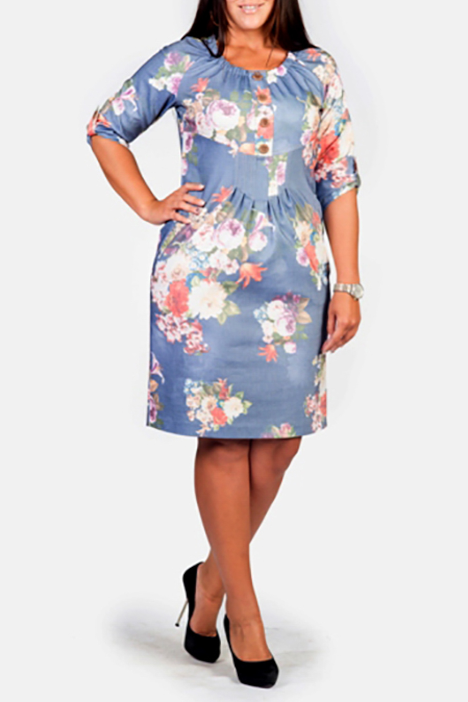 ПлатьеПлатья<br>Прекрасное женское платье с круглой горловиной и рукавами 3/4. Модель выполнена из плотного материала с цветочным принтом. Отличный выбор для любого случая.  Цвет: голубой, розовый  Рост девушки-фотомодели 170 см.<br><br>Горловина: С- горловина<br>По длине: До колена<br>По материалу: Вискоза,Тканевые<br>По образу: Город,Свидание<br>По рисунку: Растительные мотивы,Цветные,Цветочные,С принтом<br>По сезону: Весна,Осень,Зима<br>По силуэту: Полуприталенные<br>По стилю: Повседневный стиль<br>По элементам: Со складками<br>Рукав: Рукав три четверти<br>По форме: Платье - футляр<br>Размер : 46,48<br>Материал: Костюмно-плательная ткань<br>Количество в наличии: 2