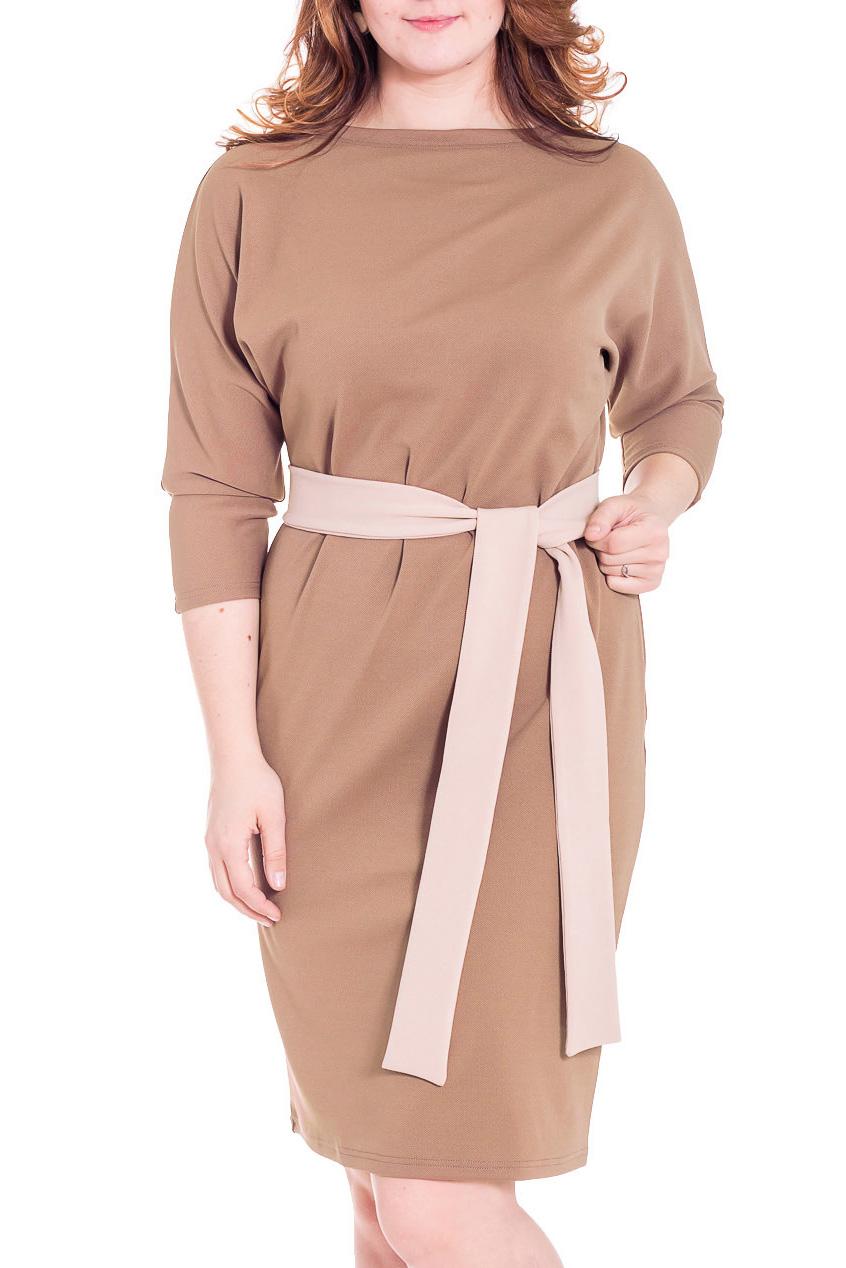 ПлатьеПлатья<br>Прекрасное женское платье с круглой горловиной, цельнокроеными рукавами длиной 3/4. Модель выполнена из приятного трикотажа. Отличный выбор для повседневного и делового гардероба.  Пояс в комплект не входит   Цвет: бежевый, коричневый  Параметры изделия: 42 размер: длина изделия по спинке - 105,5см, полуобхват по линии бедра - 45,5см;  50 размер: длина изделия по спинке - 108см, полуобхват по линии бедра - 53,5см.  Рост девушки-фотомодели 180 см<br><br>Горловина: Лодочка<br>По длине: Ниже колена<br>По материалу: Трикотаж<br>По образу: Город,Офис,Свидание<br>По рисунку: Однотонные<br>По сезону: Весна,Осень<br>По силуэту: Полуприталенные<br>По стилю: Офисный стиль,Повседневный стиль<br>Рукав: Рукав три четверти<br>Размер : 52<br>Материал: Джерси<br>Количество в наличии: 1