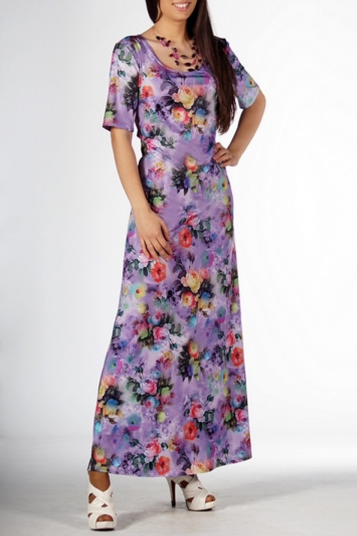 ПлатьеПлатья<br>Комфортное платье в пол из трикотажа со столь актуальным цветочным 3D-принтом, который  смотрится очень нарядно. Горловина - широкая, округлая, открывающая плечи и грудь. Рукав длиной до локтя.  Длина около 145 см.  Цвет: сиреневый, мультицвет  Ростовка изделия 170 см.<br><br>Горловина: С- горловина<br>По длине: Макси<br>По материалу: Трикотаж<br>По рисунку: Растительные мотивы,С принтом,Цветные<br>По сезону: Весна,Зима,Лето,Осень,Всесезон<br>По силуэту: Полуприталенные<br>По стилю: Нарядный стиль,Повседневный стиль<br>По форме: Платье - трапеция<br>Рукав: До локтя<br>Размер : 46,48,50<br>Материал: Трикотаж<br>Количество в наличии: 3