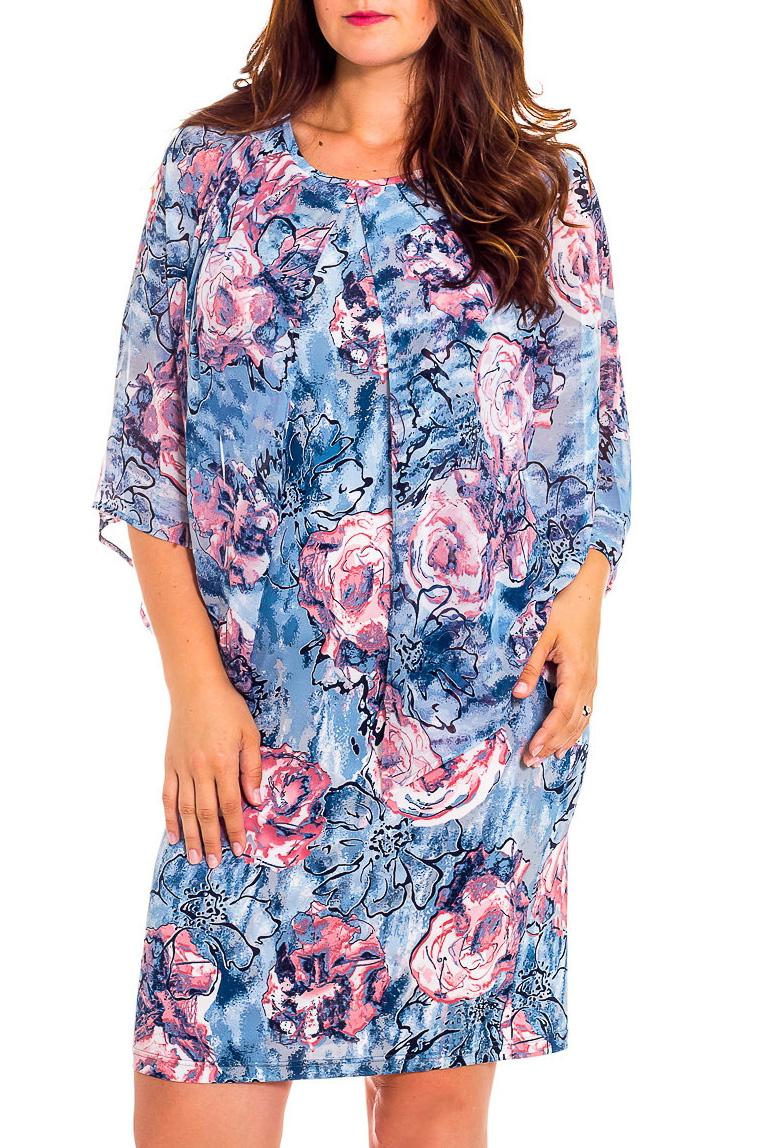 ПлатьеПлатья<br>Повседневно-нарядное платье прекрасно подойдет как для праздника, так и для романтичной встречи. В наших платьях Вы будете выглядеть очаровательно на протяжении всего дня.  В изделии использованы цвета: голубой, розовый и др.   Рост девушки-фотомодели 180 см<br><br>Горловина: С- горловина<br>По длине: До колена<br>По материалу: Вискоза,Трикотаж,Шифон<br>По образу: Свидание<br>По рисунку: Растительные мотивы,С принтом,Цветные,Цветочные<br>По сезону: Весна,Зима,Лето,Осень,Всесезон<br>По силуэту: Полуприталенные,Приталенные<br>По стилю: Нарядный стиль,Повседневный стиль,Романтический стиль<br>По форме: Платье - футляр<br>Рукав: Рукав три четверти<br>Размер : 46,48,50,52,54<br>Материал: Холодное масло + Шифон<br>Количество в наличии: 5