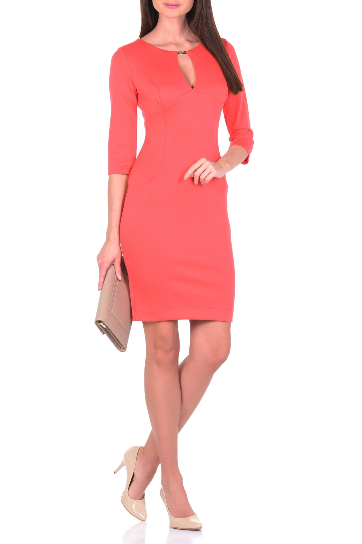 ПлатьеПлатья<br>Выглядеть женственно и элегантно каждый день Вам поможет однотонное платье из джерси. Благодаря классическому крою футляр сохраняющее форму джерси-стрейч мягко облегает фигуру. Тальевые вытачки спереди и сзади обеспечивают оптимальную посадку и создают женственный силуэт. Утонченный круглый вырез, переходящий в V-образный разрез, привлекает внимание к обольстительному декольте. Верх V-образного разреза декорирован металлическим элементом. Для удобства ходьбы сзади расположена шлица. Наиболее выигрышно такое платье смотрится с обувью на каблуках и с эффектным украшением. Ткань - плотный трикотаж, характеризующийся эластичностью, растяжимостью и мягкостью.  Длина изделия по спинке 100 см.  В изделии использованы цвета: коралловый  Рост девушки-фотомодели 170 см.<br><br>Горловина: С- горловина<br>По длине: До колена<br>По материалу: Вискоза,Трикотаж<br>По рисунку: Однотонные<br>По силуэту: Приталенные<br>По стилю: Кэжуал,Повседневный стиль<br>По форме: Платье - футляр<br>По элементам: С декором,С разрезом<br>Разрез: Короткий,Шлица<br>Рукав: Рукав три четверти<br>По сезону: Осень,Весна,Зима<br>Размер : 44,46,50<br>Материал: Джерси<br>Количество в наличии: 5